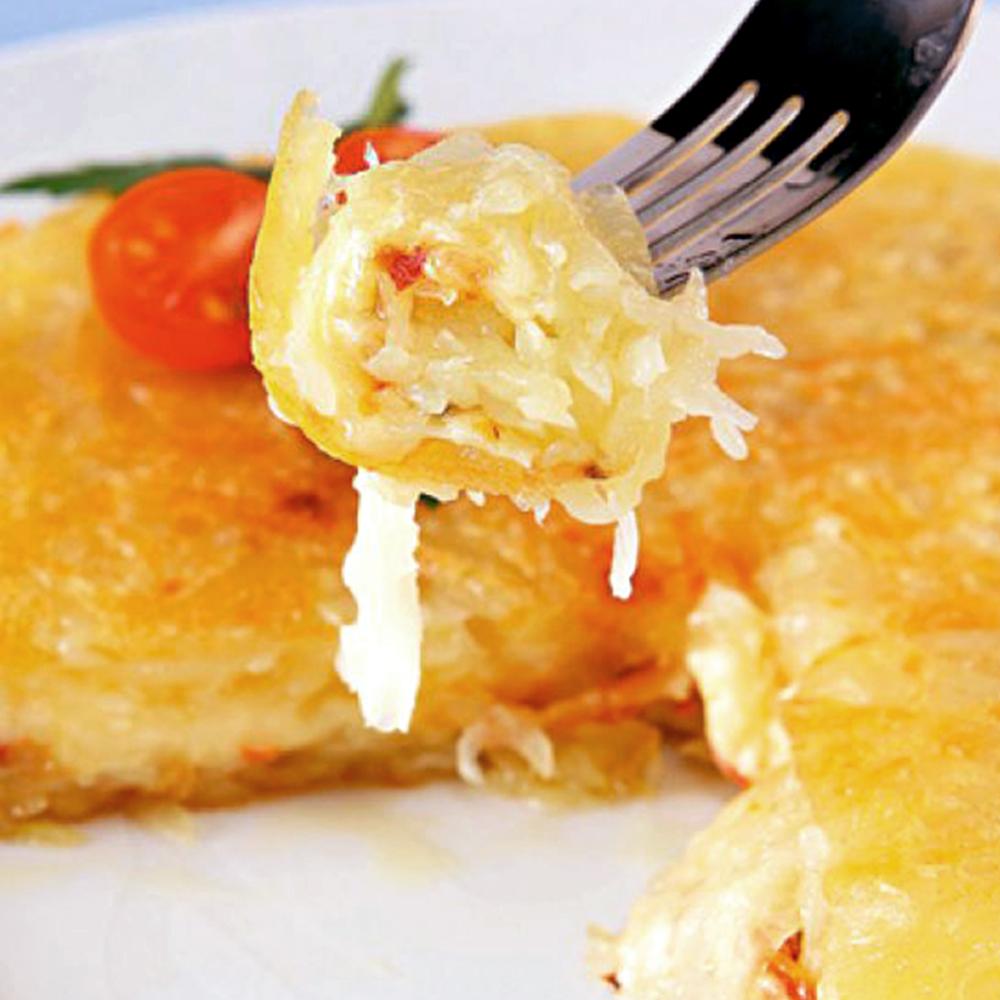 Batata rosti com queijo e Presunto Cofril