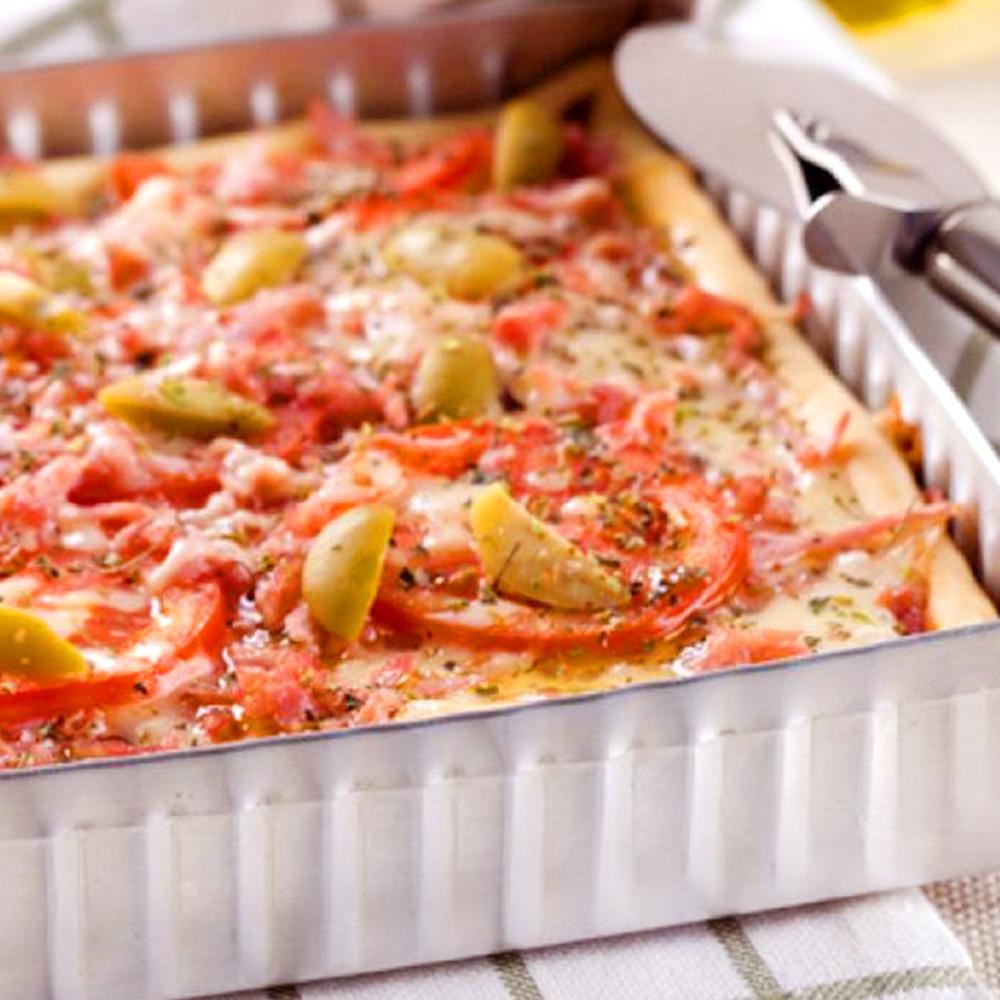 Torta-pizza de Presunto Cofril e mussarela